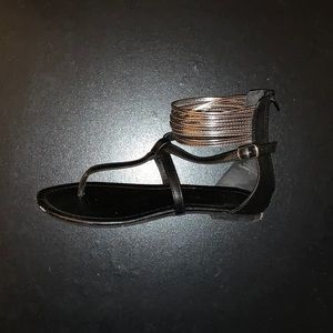 Shoes - Black and Silver Sandals size 6